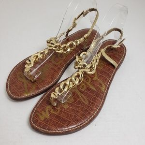 Sam Edelman Gold Chain Thong Buckle Sandals Sz 9.5